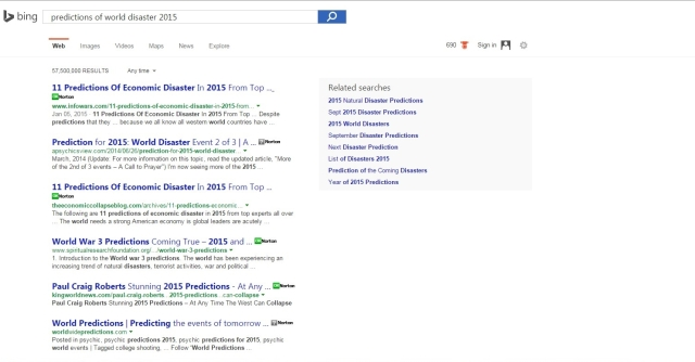 Bing disaster search