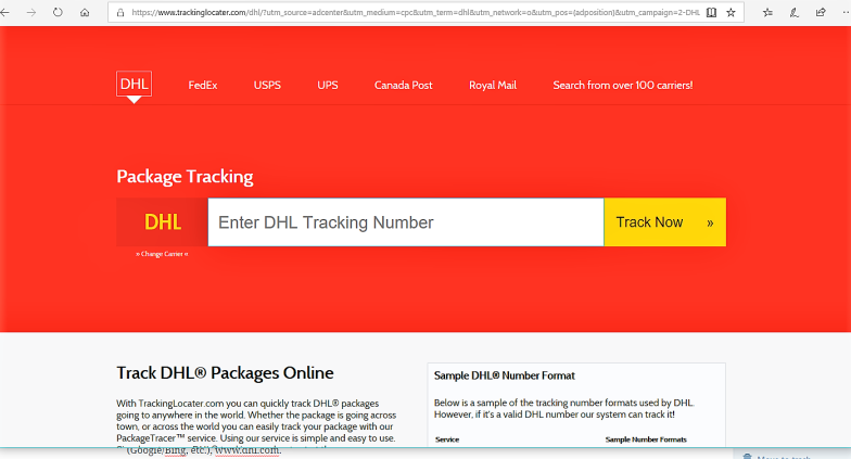 Real DHL website